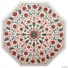 2' White Marble Side Corner Table Top Rare Inlaid Gems Mosaic Art Handmade Decor