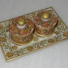 "9"" Marble Jaipur Hand Painted Gold Handmade Bowl Tray Set For Dry Fruit Decor"