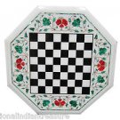 """24"""" White Marble Malachite Dining Coffee Table Top Chess Play Home Decor Arts"""