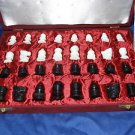 "1.5"" Handcarved Red Velvet Box King Marble Chess Pieces Play &  gifts handmade"