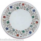 """12"""" Marble Coffee Table Top Pietra Dura Marquetry Stone Inlaid  Stone With Stand"""