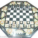 """24"""" Black Marble Coffee Table Top Chess Design Handmade With Chess Pieces Arts"""