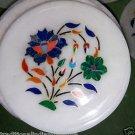 "6"" Marble Plate Handmade Lapis Lazuli Floral Inlaid Pietra Dura Home Decor Arts"