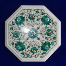 "12"" Marble Inlay Real Malachite coffee Side Table Pietra Dura Home Decor  Art"