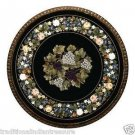 """24"""" Antique Black Marble Dining Table Top Furniture Grapes Table Top Pietra Dura"""