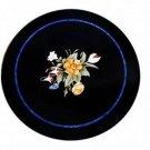 "24"" Black Marble Centre Table Top Handmade Pietra Dura Home decor Coffee Table"