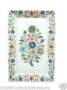 "10""x6"" Marble Tray Handmade Pietra Dura Very Rare Marquetry Home Decor Gifts"