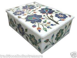 "5""x3.5""x1.5"" Marble Jewelry Box Trinket Box Handmade Pietra Dura Semi Precious"