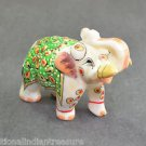 "2"" White Marble Elephant Color Hand Painted Handmade Home Decorative Gifts Arts"