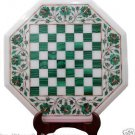 "16"" White Marble Coffee Chess Table Top Malachite Inlay Marquetry Garden Decor"