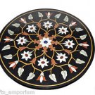 """29"""" Black Marble Table Top Side Table Top Marquetry Handmade Corner Table Arts"""