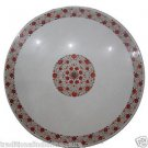 "36"" White Marble Semi Precious Coffee Table Top Hakik Unique Mughal Art Gifts"