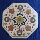 "23"" Coffee Dining Table Marquetry Top Mosaic Inlaid Semi Precious Inlaid Gifts"