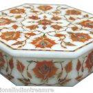 "6""x6""x1.5"" Marble Decorative Jewelry Box Trinket Hakik Handmade Pietra Dura Arts"