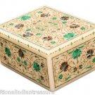 "4""x3""x2""  Marble Jewelry Trinket Box Pietra Dura Malachite Mosaic Home Decor Art"