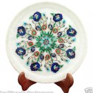"""15"""" White Marble Serving Plate Rare Mosaic Inlay Pietradure Collectible Decor"""