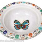 """7"""" White Marble Dry Fruit Bowl Malachite Butterfly Art Handicraft Marquetry Deco"""