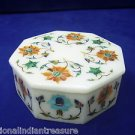 "5""x5""x2"" White Octagon Marble Jewelry Box Trinket Hakik Flower Pietra Dura Decor"