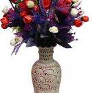 "12"" Marble Soapstone Flower Vase Pot Beautiful Elephant Home Decor Arts Gifts"