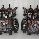 Black Marble Large Elephant Rare Pietra Dura inlaid Big Handmade Fine Decor Art
