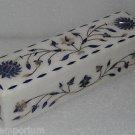 "8""x8""x2"" Marble Pencil Box Pen Box Trinket Handmade Lapis Lazuli Pietra Dura Art"