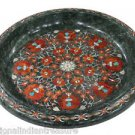 """15"""" Green Marble Fruit Bowl Carnelian Mosaic Marquetry Home Decor Arts Gifts"""