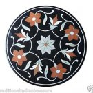 """Size 24""""x24"""" Black Marble Table Top Side Flower Marquetry Home Decor Gifts"""