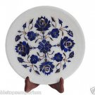 Indian White Marble Serving Tray Plate Kishti Lapis Pietradure Floral Art Gifts