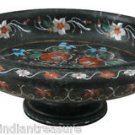"11"" Black Marble Dry Fruit Bowl Hakik Kitchen Décor Inlay Marquetry Home Decor"