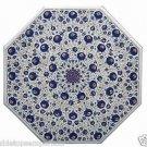 "Size 36""x36"" Marble Coffee Table Top Lapis Lazuli Inlay Pietra Dura Home Decor"