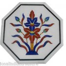 """12"""" White Marble Table Top Mosaic Inlaid Pietra Dura Handmade Home Decor Gifts"""
