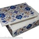 "6""x4""x2"" Marble Jewelry Box Handmade Lapis Lazuli Pietra Dura Home Decor Arts"
