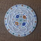 "18"" Rare White Marble Plate Hakik Lapis Inlaid Mosaic Paua Shell Fine Work Grill"