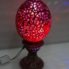 "10"" Marble Night Lamp Red Egg Art living room Hand carved Decor Gifts Art New"