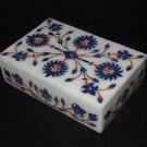Marble Jewelry Box Trinket Pietra Dura Lapis Floral Inlaid Decorative Gifts Art