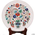 """10"""" Marble Serving Round Dish Plate Rare Mosaic Inlay Marquetry Art Decor Gifts"""