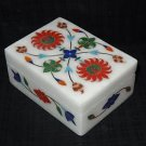 Marble Marquetry Trinket Jewelry Box Lapis Inlay Red Coral Home Decor Gifts Art