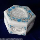 "5""x5""x3"" Hexagon White Marble Jewelry Box Handmade Turquoise HEART Shaped Gifts"