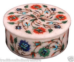 "4""x4""x2"" Marble Jewellery Storage Box Malachite Collectible Art Marquetry Inlay"