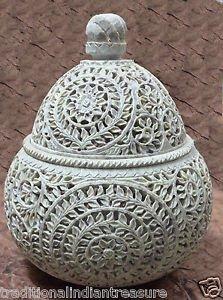 """8""""x8""""x10"""" Soapstone Marble Jewelry Box Jar Trinket Decor Flower Home Decor Arts"""