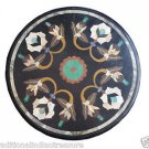 2' Black Marble Coffee Table Top Dining Table Furniture Marquetry Home Decor Art