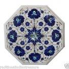 "12"" White Marble Coffee Table Top Lapis Lazuli Semi Precious Italian Home Decor"