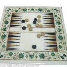 """15""""x15"""" Marble Coffee Table Top Malachite Pietra Dura Backgammon Board Game Art"""