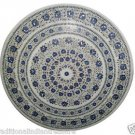 Size 3'x3' Marble Dining Table Top Lapis Stone Mosaic Floral Patio Decor H949A