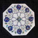 "8"" White Marble Lapis Lazuli handmade Pietra Dura Tile Art Floral Home Decor Art"