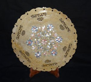 """12"""" Marble Lapis Plate Real Gems Rare Mother of Pearl Pietra Dura Home Decor Art"""
