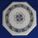 "12"" Marble Table Top Floral  Lapis Lazuli Handmade Pietra Dura Mosaic Home Deocr"