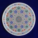 "9"" Marble Rare Very Fine Work Plate Decorative Pietra Dura Micro Inlay Mosaic"
