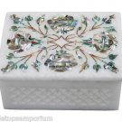 "3""x4"" White Marble Jewelry Box Paua Shell Marquetry Inlaid Handmade Decor Arts"