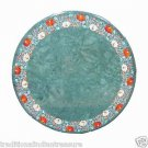 "24"" Green Marble Table Top Inlaid Hakik Marquetry Inlaid Antique MuseumBuffet"